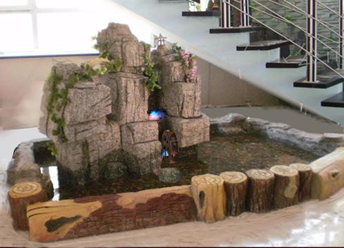 室内景观雕塑假山鱼池的五大好处